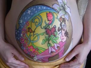 belly paint little girl